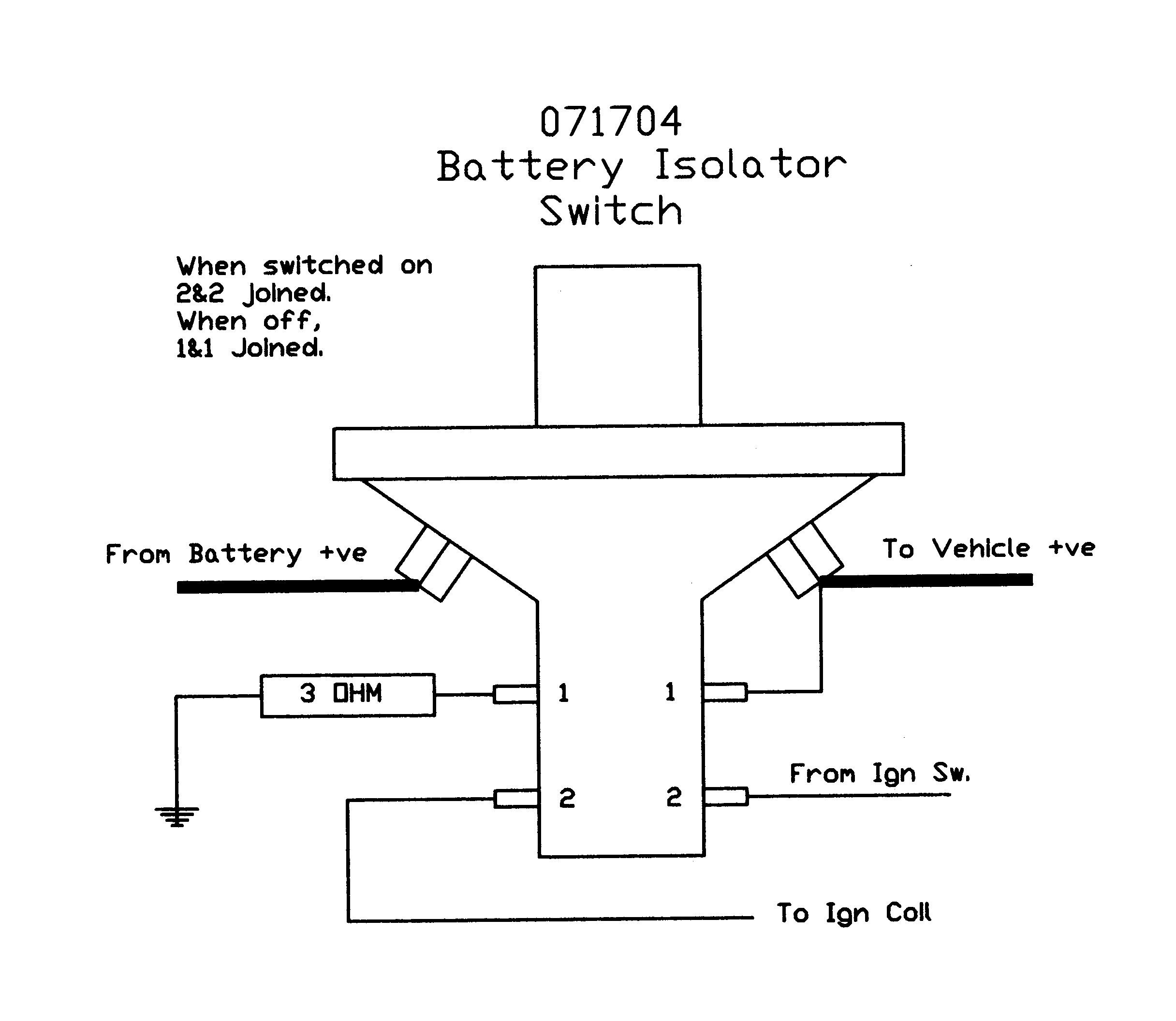 Battery Isolator Switch Wiring Diagram : Battery isolator switch removable key splash proof