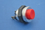 Red plastic button, aluminium body, 2 x 6.3mm blade terms